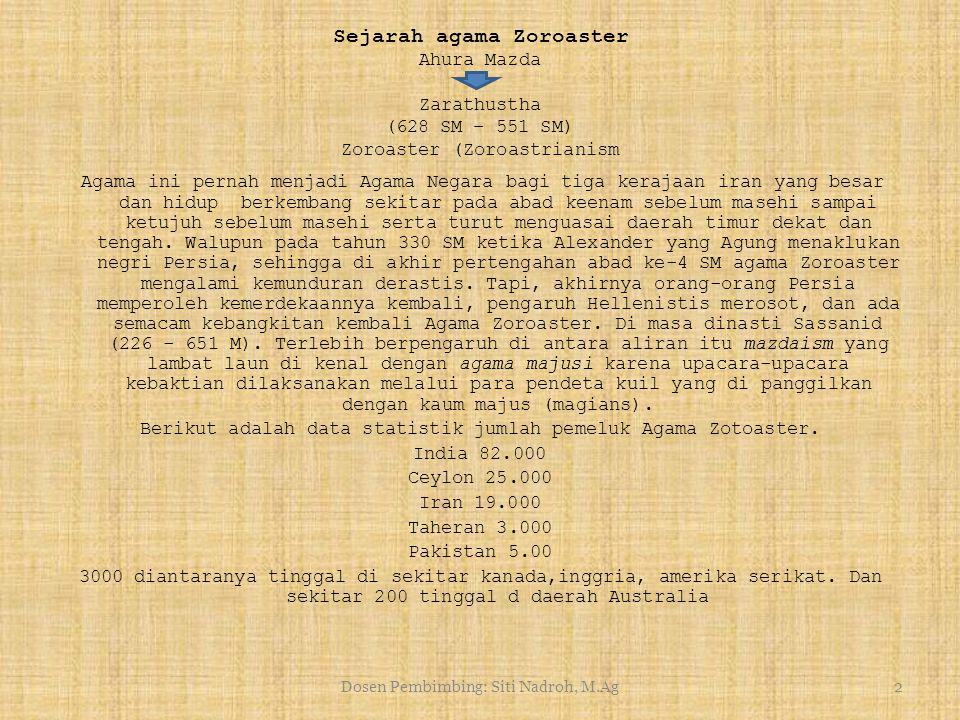 Dosen Pembimbing: Siti Nadroh, M.Ag1 AGAMA – AGAMA DUNIA Agama Zoroaster Makalah ini disusun untuk memenuhi tugas ujian semester Pembimbing Ibu. Siti