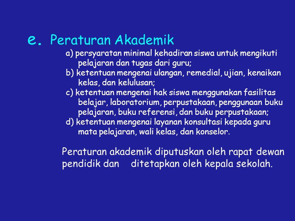 e. Peraturan Akademik a) persyaratan minimal kehadiran siswa untuk mengikuti pelajaran dan tugas dari guru; b) ketentuan mengenai ulangan, remedial, u