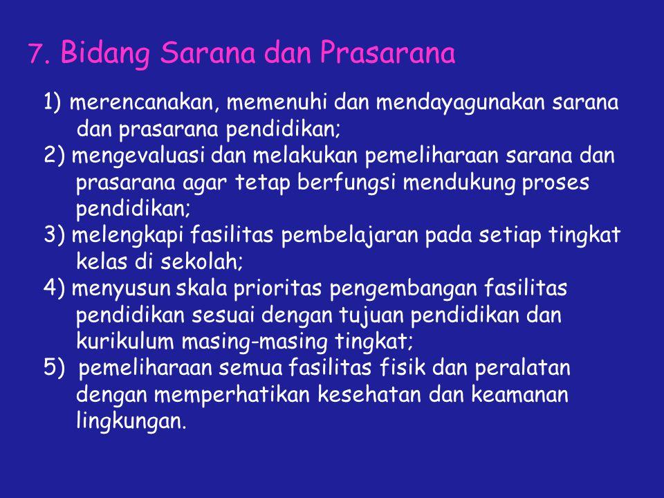 7. Bidang Sarana dan Prasarana 1)merencanakan, memenuhi dan mendayagunakan sarana dan prasarana pendidikan; 2) mengevaluasi dan melakukan pemeliharaan