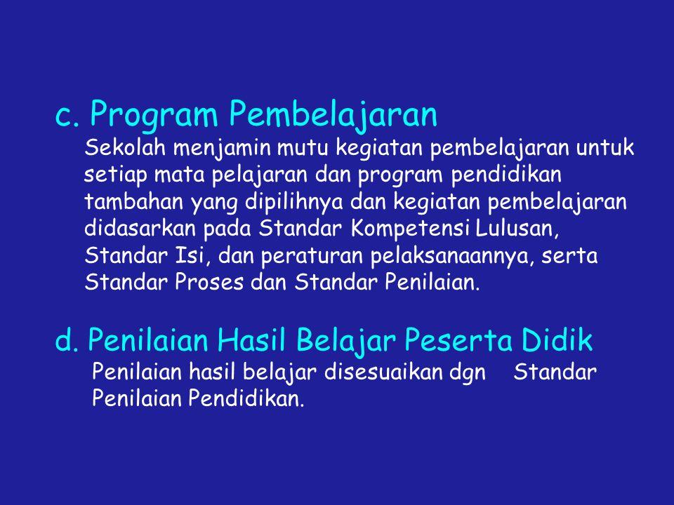 c. Program Pembelajaran Sekolah menjamin mutu kegiatan pembelajaran untuk setiap mata pelajaran dan program pendidikan tambahan yang dipilihnya dan ke