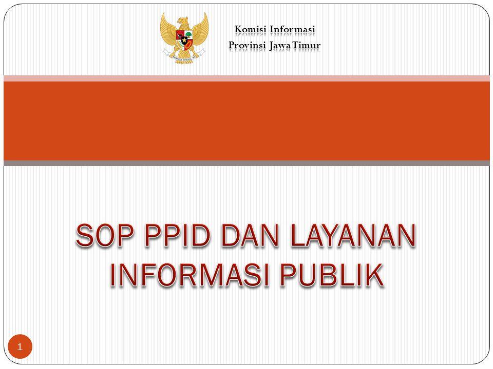 SOP merupakan peraturan mengenai standar prosedur operasional layanan Informasi Publik sebagai bagian dari sistem informasi dan dokumentasi untuk mengelola Informasi Publik secara baik dan efisien sehingga dapat diakses dengan mudah.