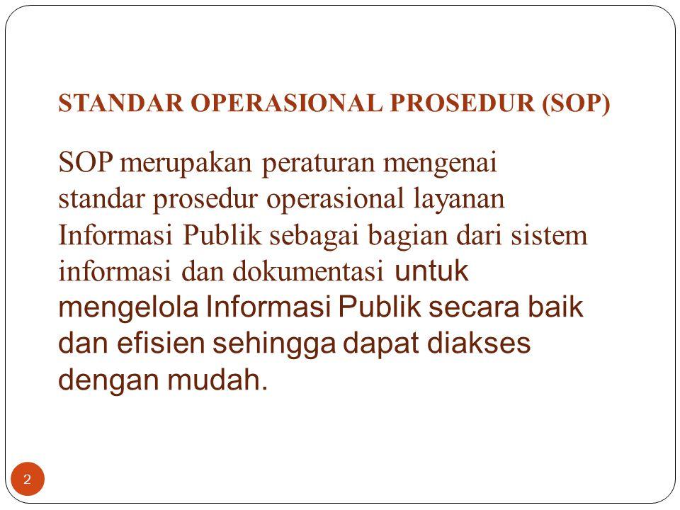 1.kejelasan tentang pejabat yang ditunjuk sebagai PPID; 2.kejelasan tentang orang yang ditunjuk sebagai pejabat fungsional dan/atau petugas informasi apabila diperlukan; 3.kejelasan pembagian tugas, tanggung jawab, dan kewenangan PPID dalam hal terdapat lebih dari satu PPID; 4.kejelasan tentang pejabat yang menduduki posisi sebagai atasan PPID yang bertanggung jawab mengeluarkan tanggapan atas keberatan yang diajukan oleh Pemohon Informasi Publik; 5.standar layanan Informasi Publik serta tata cara pengelolaan keberatan di lingkungan internal Badan Publik; dan 6.tata cara pembuatan laporan tahunan tentang layanan Informasi Publik.