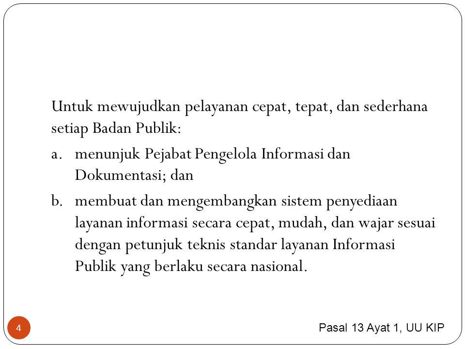5 adalah pejabat yg bertanggung jawab di bidang penyimpanan, pendokumentasian, penyediaan, dan/atau pelayanan informasi di Badan Publik.