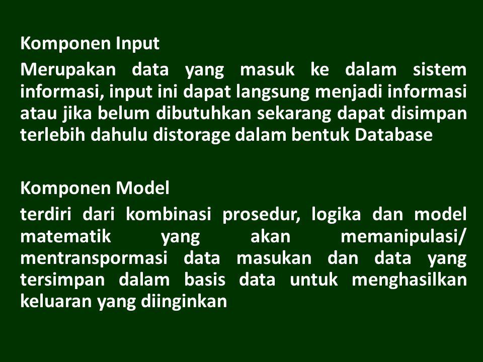 Komponen Input Merupakan data yang masuk ke dalam sistem informasi, input ini dapat langsung menjadi informasi atau jika belum dibutuhkan sekarang dapat disimpan terlebih dahulu distorage dalam bentuk Database Komponen Model terdiri dari kombinasi prosedur, logika dan model matematik yang akan memanipulasi/ mentranspormasi data masukan dan data yang tersimpan dalam basis data untuk menghasilkan keluaran yang diinginkan