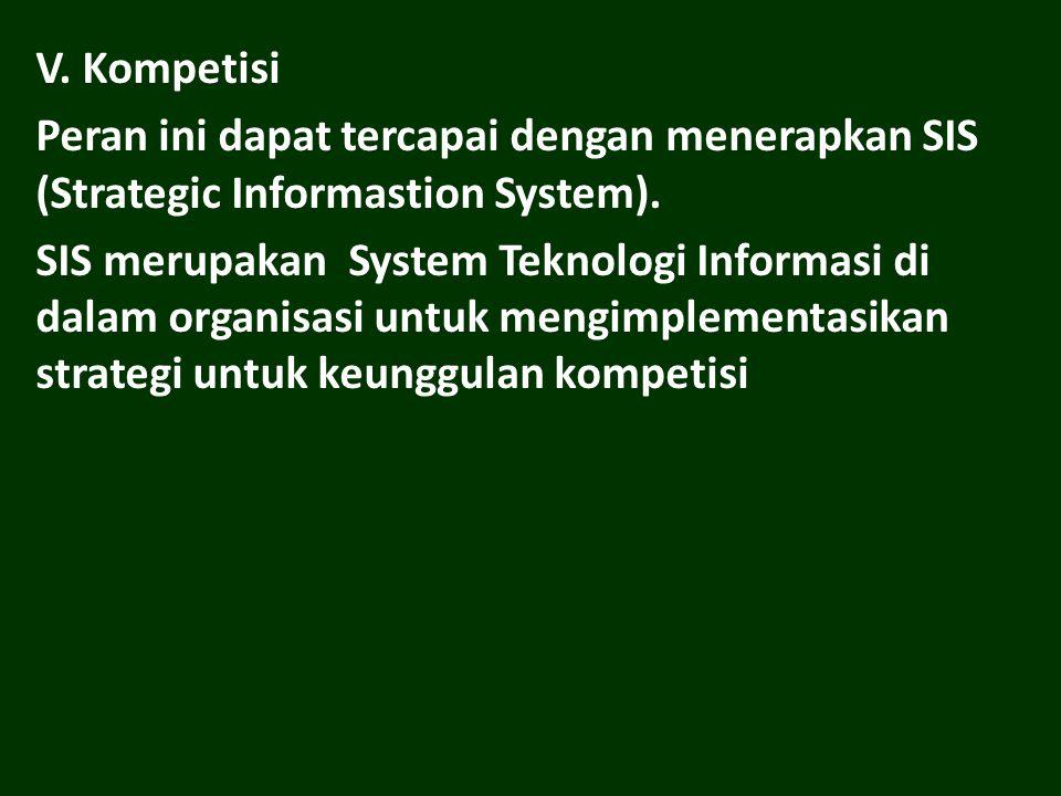 V.Kompetisi Peran ini dapat tercapai dengan menerapkan SIS (Strategic Informastion System).