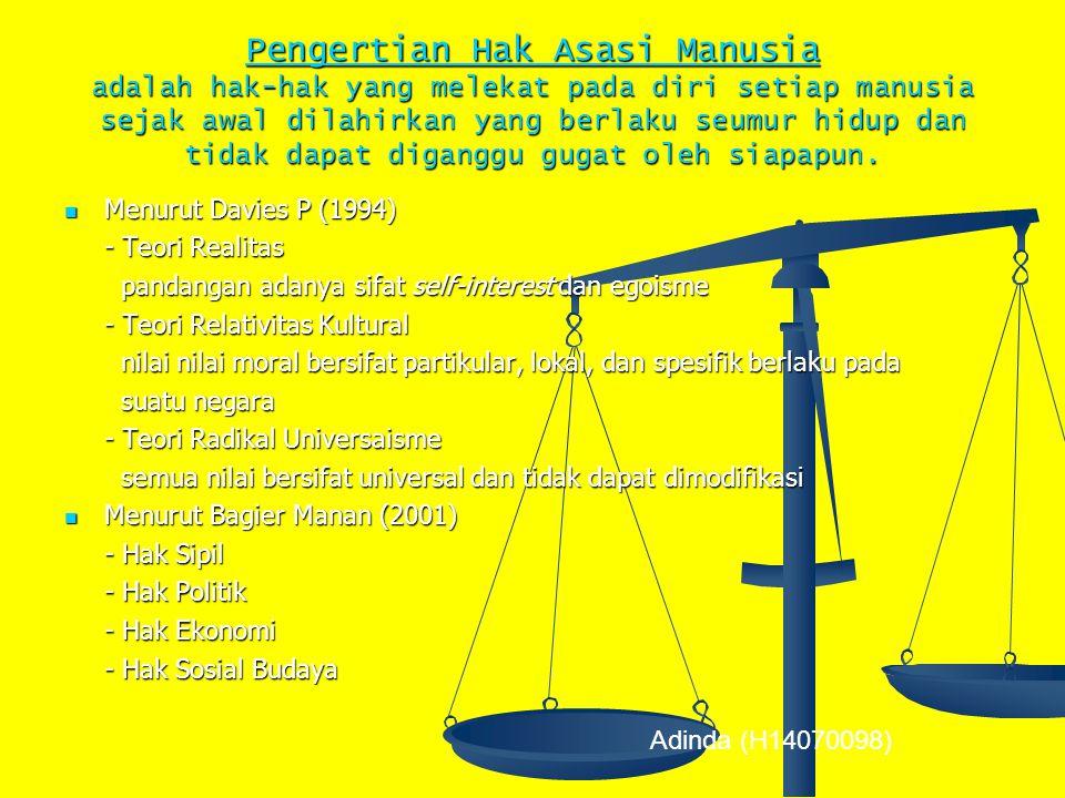 B. HAK ASASI MANUSIA (HAM) Adinda (H14070098)