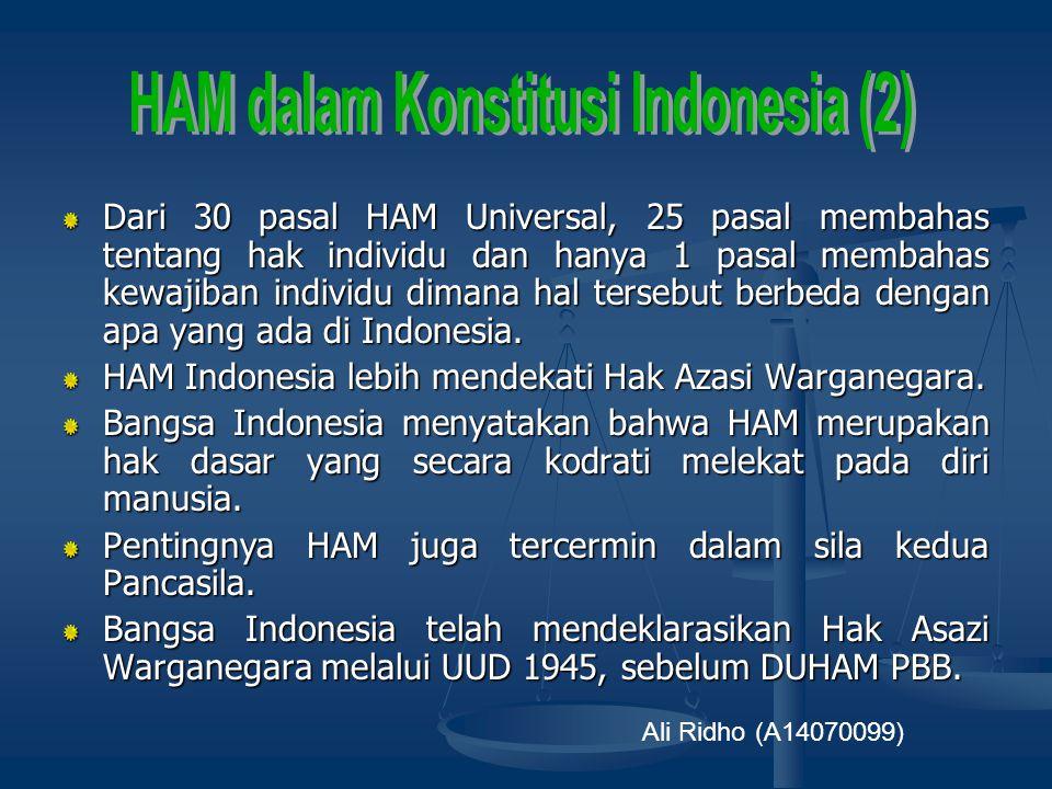 Dalam batang tubuh naskah asli UUD 1945 hanya ada 7 pasal yang berkaitan dengan HAM. Sejarah HAM dalam Konstitusi Indonesia : UU RIS 1949 dan UUDS 195