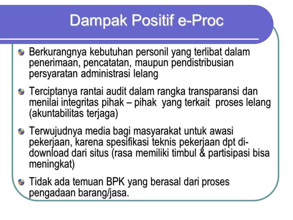 Dampak Positif e-Proc Berkurangnya kebutuhan personil yang terlibat dalam penerimaan, pencatatan, maupun pendistribusian persyaratan administrasi lela