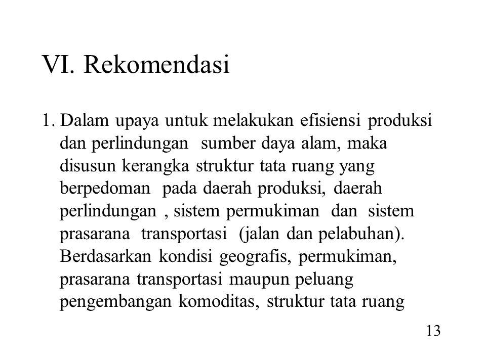 VI. Rekomendasi 1. Dalam upaya untuk melakukan efisiensi produksi dan perlindungan sumber daya alam, maka disusun kerangka struktur tata ruang yang be