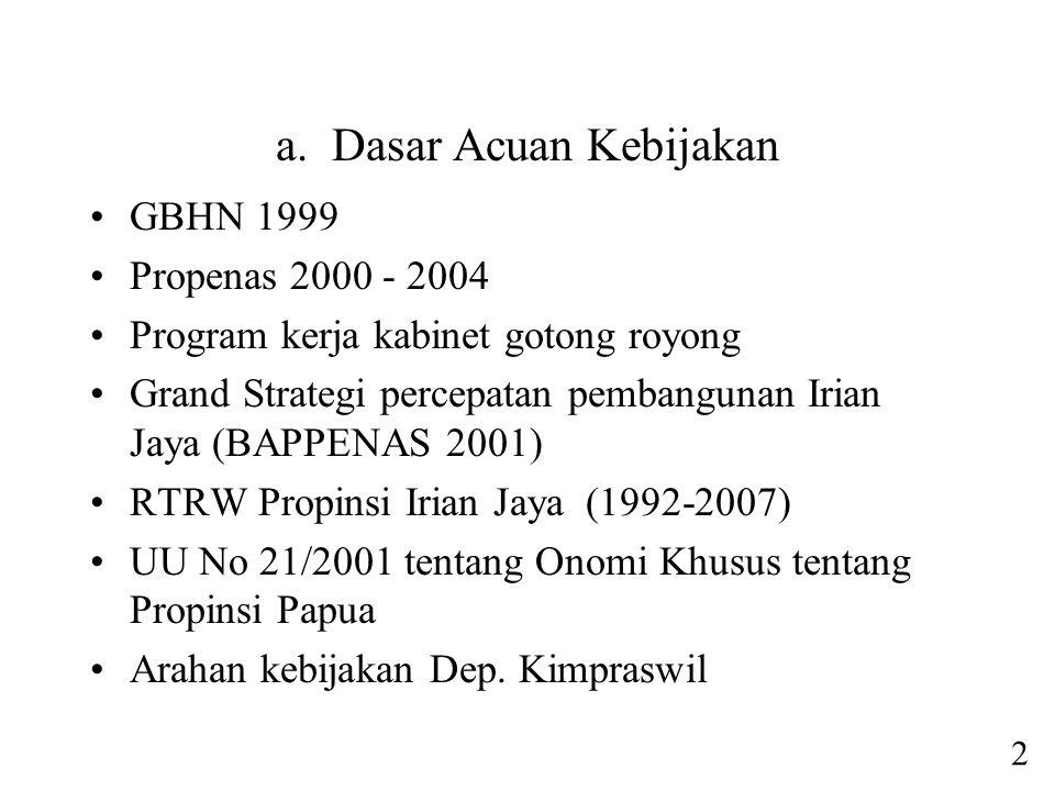 a. Dasar Acuan Kebijakan •GBHN 1999 •Propenas 2000 - 2004 •Program kerja kabinet gotong royong •Grand Strategi percepatan pembangunan Irian Jaya (BAPP