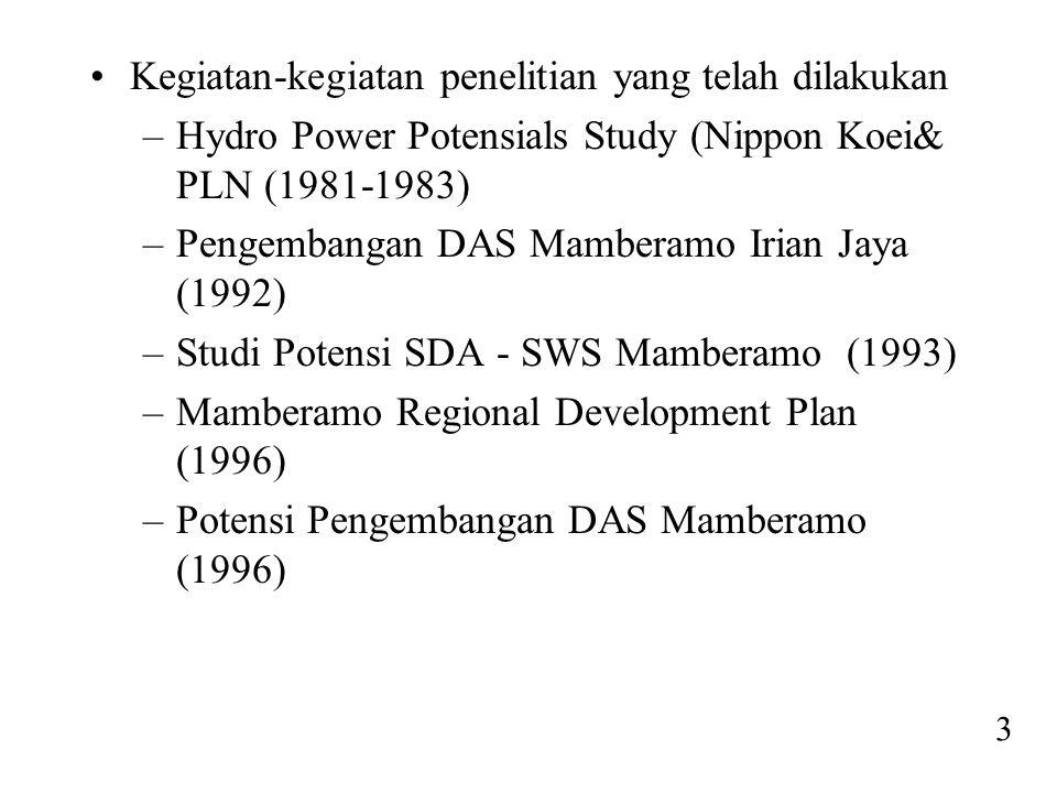 •Kegiatan-kegiatan penelitian yang telah dilakukan –Hydro Power Potensials Study (Nippon Koei& PLN (1981-1983) –Pengembangan DAS Mamberamo Irian Jaya