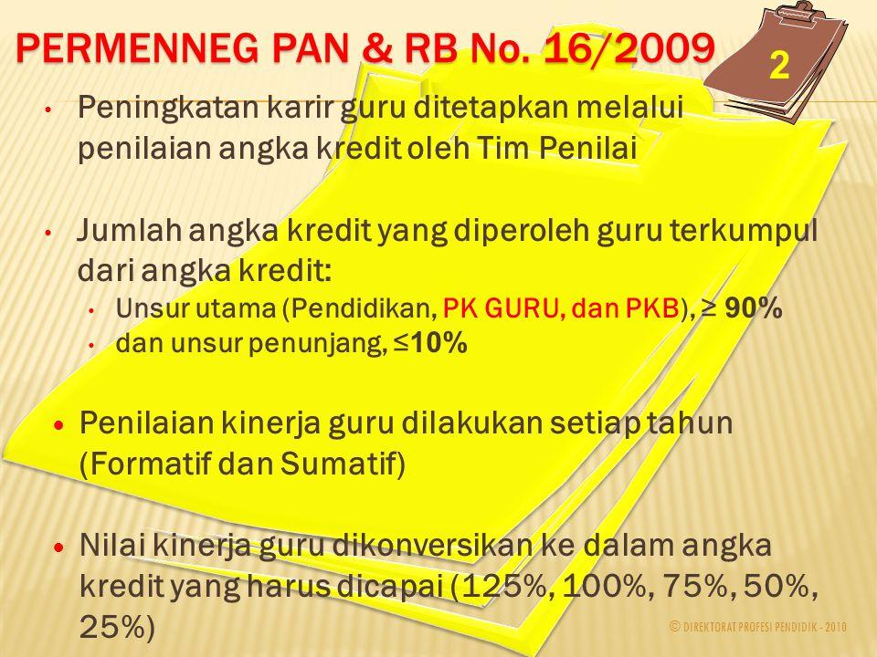 © DIREKTORAT PROFESI PENDIDIK - 2010 Proses tersebut berdasarkan PERMENNEG PAN & RB No. 16/2009  Guru harus berlatang belakang pendidikan S1/D4 dan P