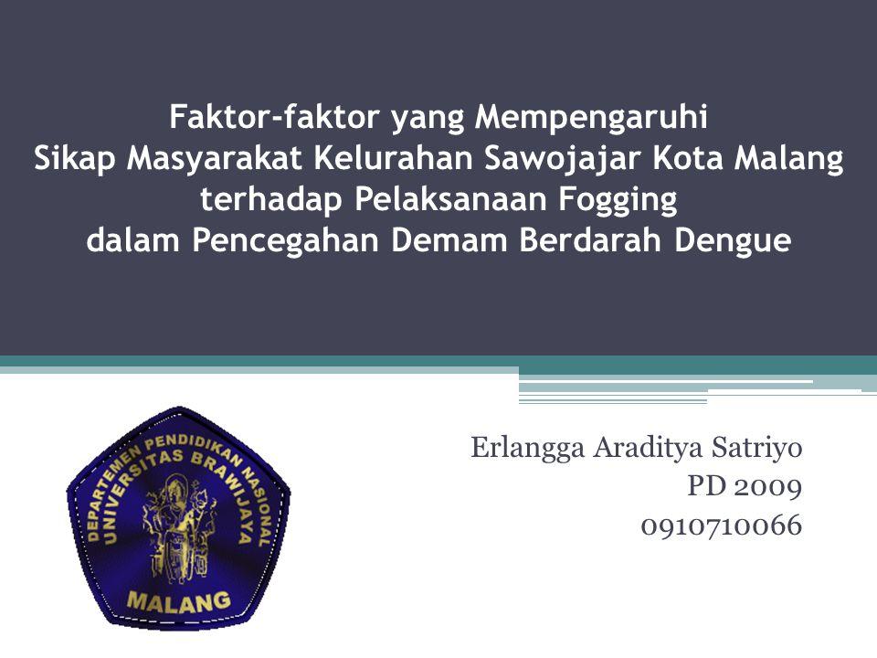 Faktor-faktor yang Mempengaruhi Sikap Masyarakat Kelurahan Sawojajar Kota Malang terhadap Pelaksanaan Fogging dalam Pencegahan Demam Berdarah Dengue E