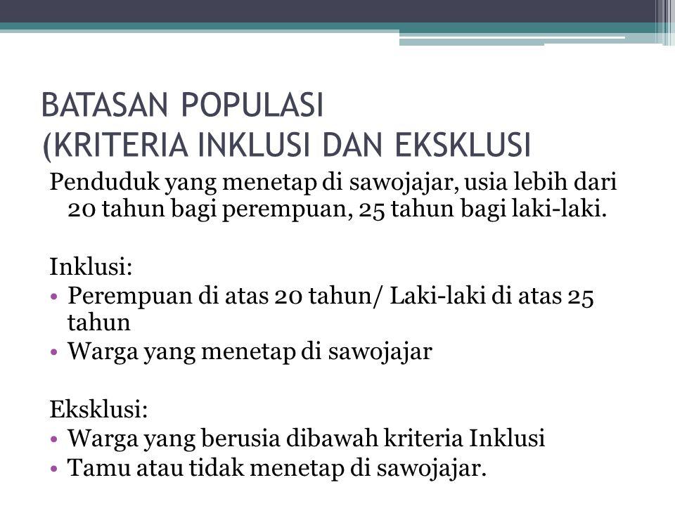 BATASAN POPULASI (KRITERIA INKLUSI DAN EKSKLUSI Penduduk yang menetap di sawojajar, usia lebih dari 20 tahun bagi perempuan, 25 tahun bagi laki-laki.