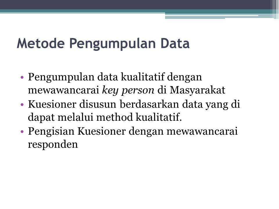 Metode Pengumpulan Data •Pengumpulan data kualitatif dengan mewawancarai key person di Masyarakat •Kuesioner disusun berdasarkan data yang di dapat me