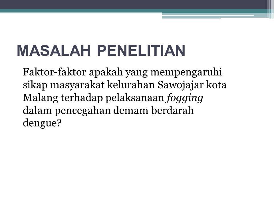 MASALAH PENELITIAN Faktor-faktor apakah yang mempengaruhi sikap masyarakat kelurahan Sawojajar kota Malang terhadap pelaksanaan fogging dalam pencegah