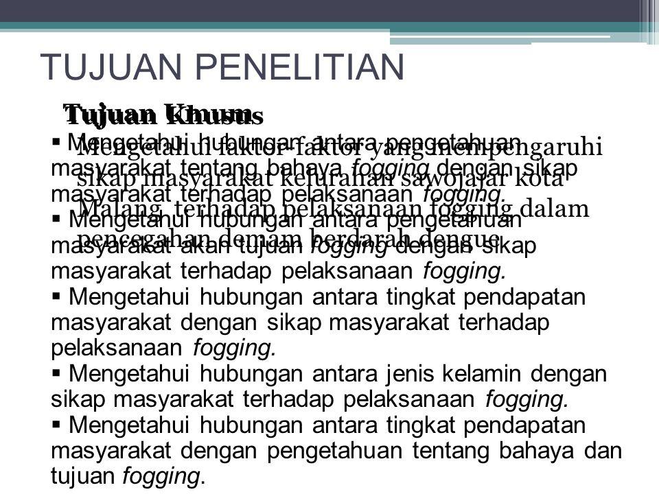 TUJUAN PENELITIAN Tujuan Umum Mengetahui faktor-faktor yang mempengaruhi sikap masyarakat kelurahan sawojajar kota Malang terhadap pelaksanaan fogging
