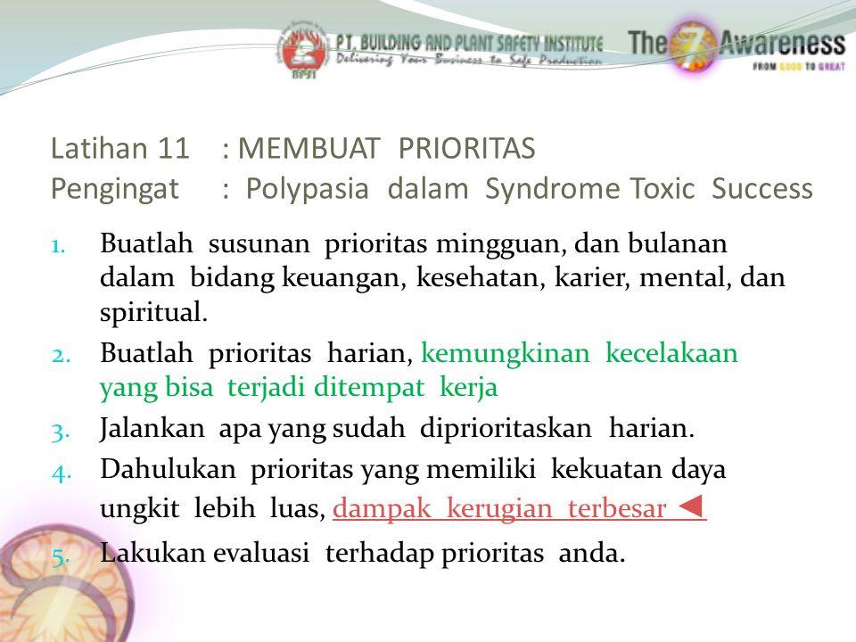 Latihan 11 : MEMBUAT PRIORITAS Pengingat : Polypasia dalam Syndrome Toxic Success 1.