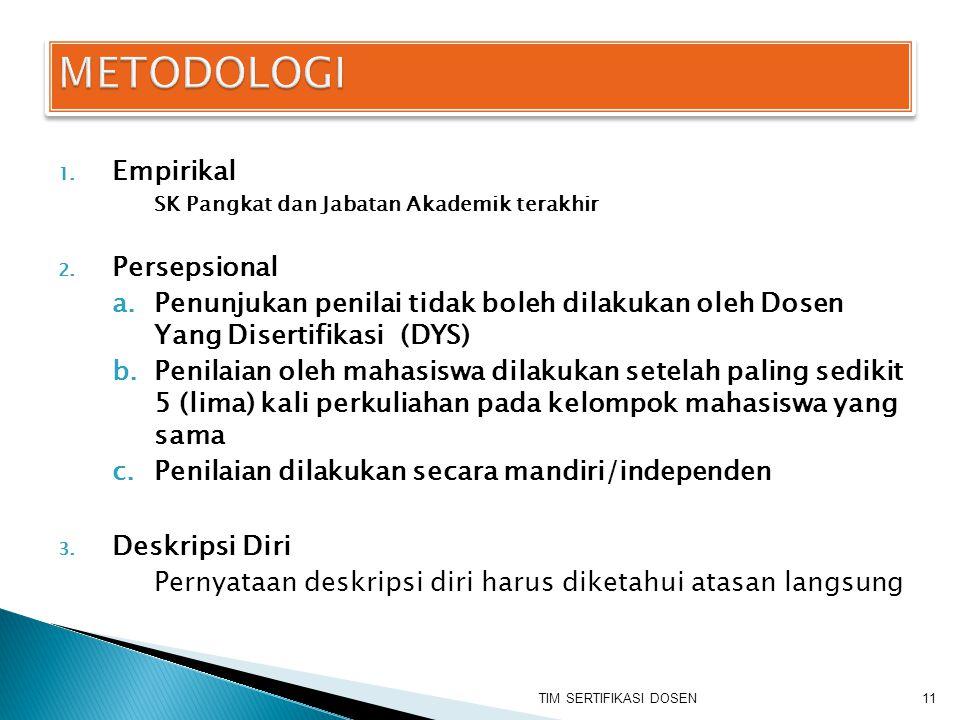 1. Empirikal SK Pangkat dan Jabatan Akademik terakhir 2. Persepsional a.Penunjukan penilai tidak boleh dilakukan oleh Dosen Yang Disertifikasi (DYS) b
