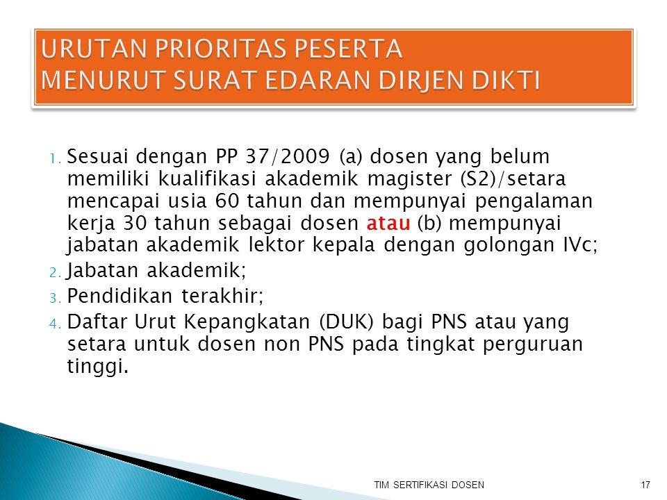 1. Sesuai dengan PP 37/2009 (a) dosen yang belum memiliki kualifikasi akademik magister (S2)/setara mencapai usia 60 tahun dan mempunyai pengalaman ke