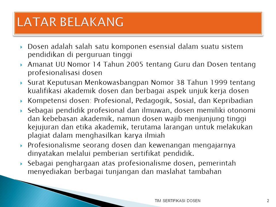  Dosen adalah salah satu komponen esensial dalam suatu sistem pendidikan di perguruan tinggi  Amanat UU Nomor 14 Tahun 2005 tentang Guru dan Dosen t
