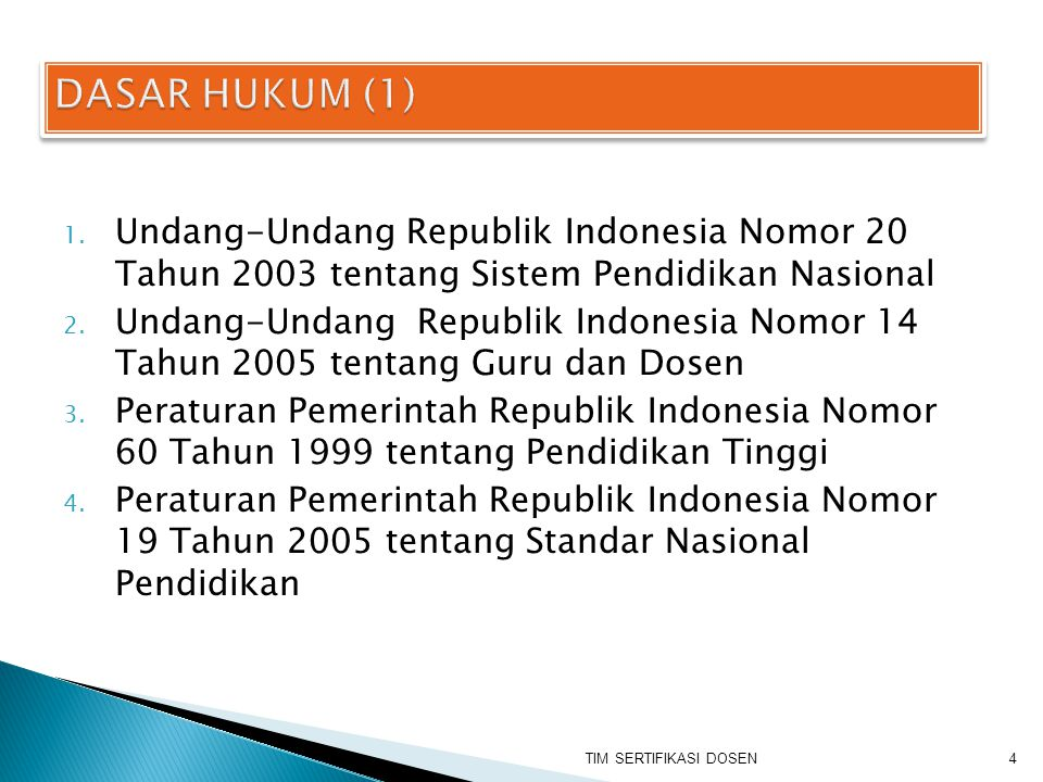 1. Undang-Undang Republik Indonesia Nomor 20 Tahun 2003 tentang Sistem Pendidikan Nasional 2. Undang-Undang Republik Indonesia Nomor 14 Tahun 2005 ten