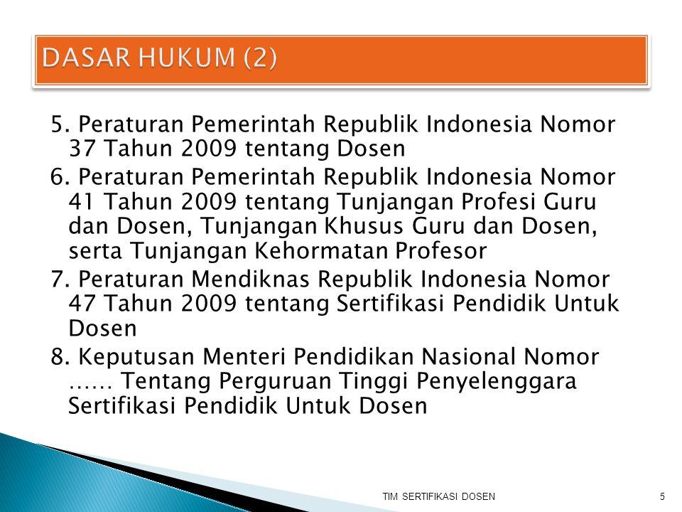5. Peraturan Pemerintah Republik Indonesia Nomor 37 Tahun 2009 tentang Dosen 6. Peraturan Pemerintah Republik Indonesia Nomor 41 Tahun 2009 tentang Tu