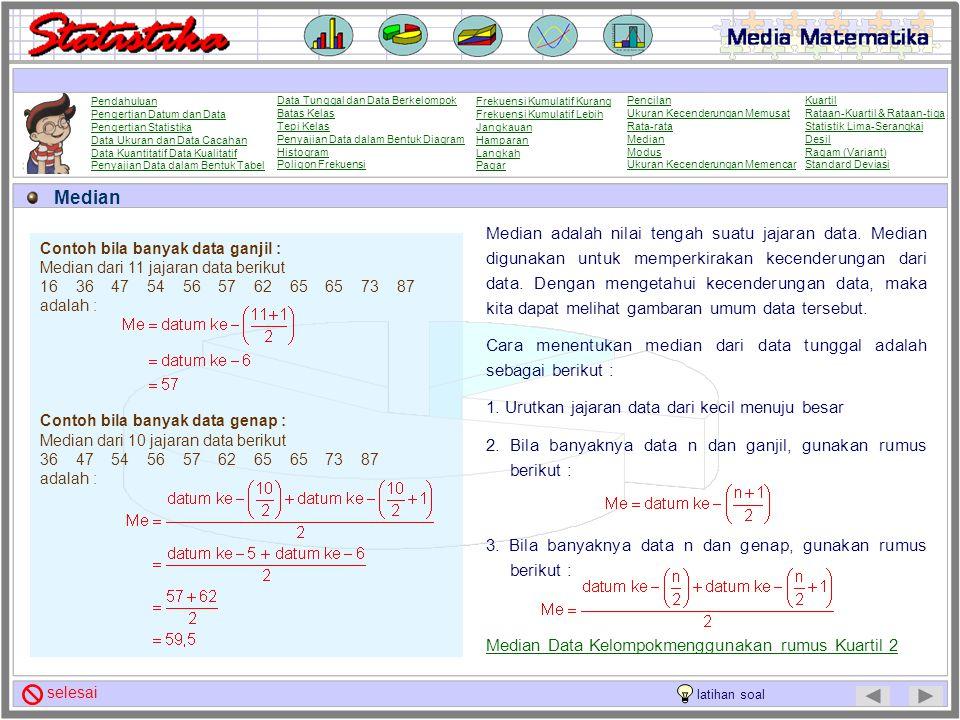 Rata-rata Data Kelompok Rata-rata adalah jumlah data dibagi dengan banyaknya data. Rata-rata dapat digunakan untuk memperkirakan kecenderungan dari da