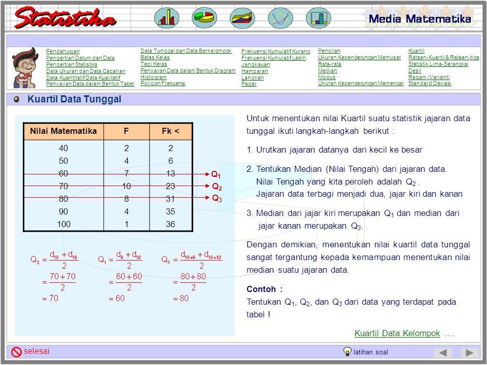 Kuartil Untuk statistik jajaran dengan ukuran data n > 4, dapat ditentukan 3 buah nilai yang membagi statistik jajaran itu menjadi empat bagian yang s