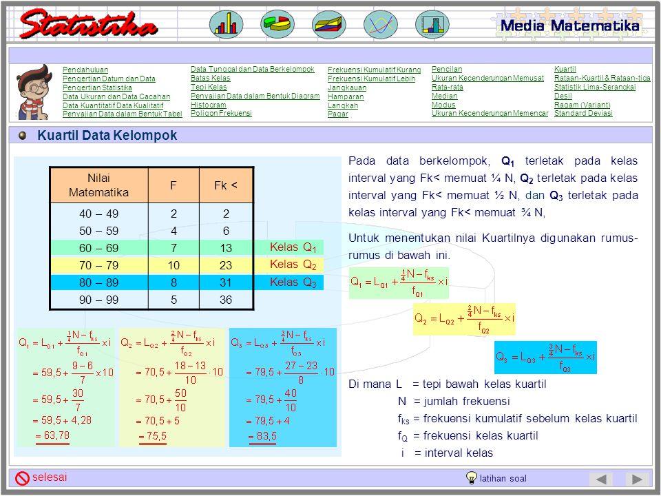 Kuartil Data Tunggal Untuk menentukan nilai Kuartil suatu statistik jajaran data tunggal ikuti langkah-langkah berikut : 1. Urutkan jajaran datanya da