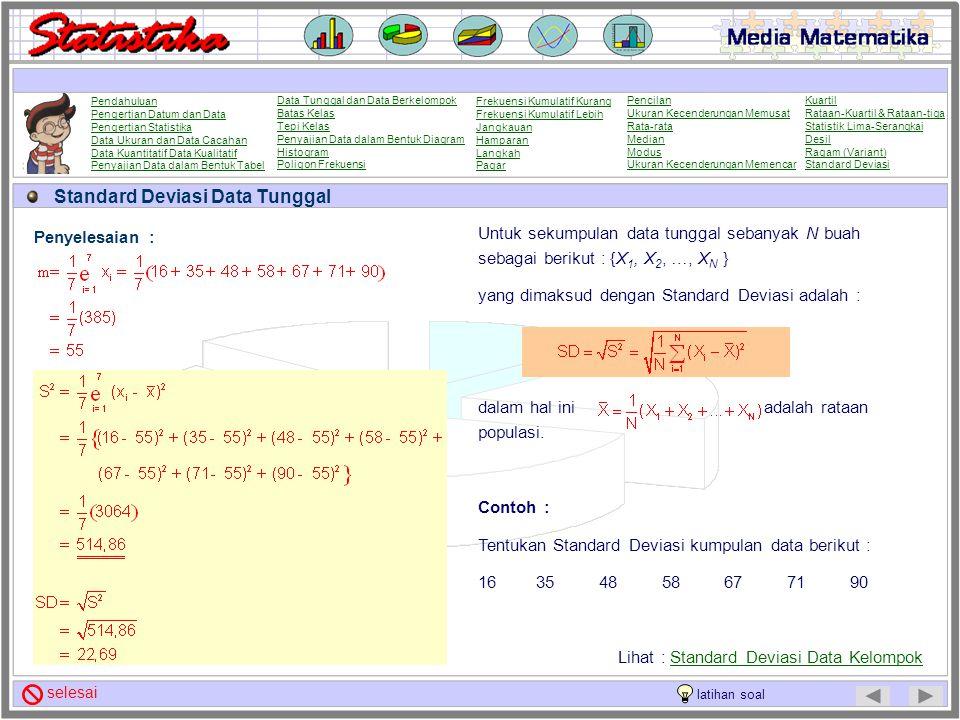 Ragam (Variant) Data Kelompok Untuk sekumpulan data kelompok dari sebuah populasi dengan kelas interval sebanyak N buah dengan titik tengah sebagai be