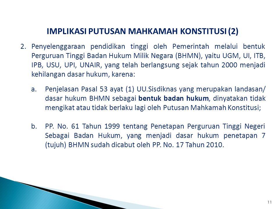 IMPLIKASI PUTUSAN MAHKAMAH KONSTITUSI (2) 2.