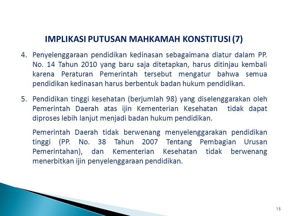 IMPLIKASI PUTUSAN MAHKAMAH KONSTITUSI (7) 4.Penyelenggaraan pendidikan kedinasan sebagaimana diatur dalam PP.