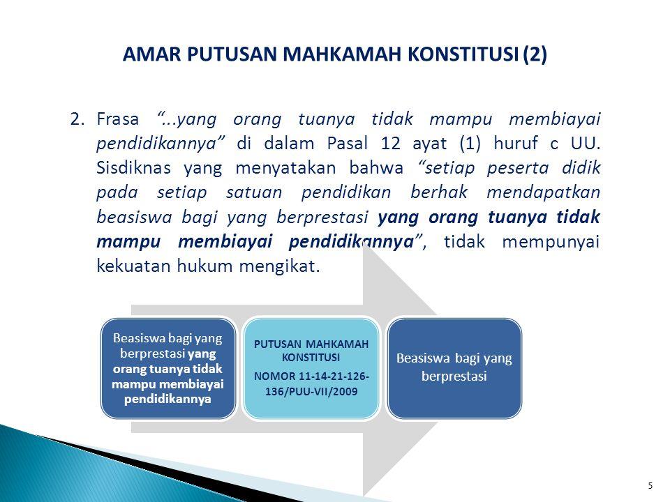 IMPLIKASI PUTUSAN MAHKAMAH KONSTITUSI (8) 6.Peraturan Pemerintah Nomor 38 Tahun 2010 tentang Badan Hukum Pendidikan Pemerintah Universitas Pertahanan menjadi tidak memiliki kekuatan hukum.