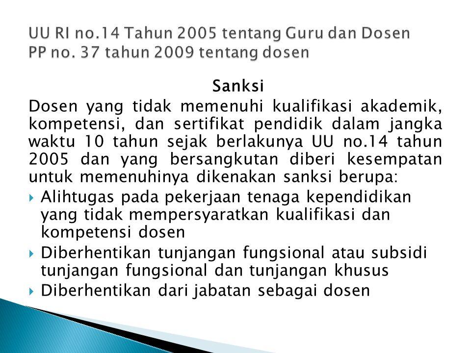 Sanksi Dosen yang tidak memenuhi kualifikasi akademik, kompetensi, dan sertifikat pendidik dalam jangka waktu 10 tahun sejak berlakunya UU no.14 tahun