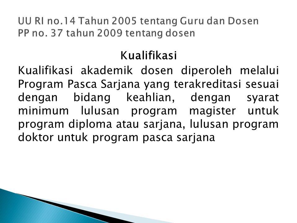 Kualifikasi Kualifikasi akademik dosen diperoleh melalui Program Pasca Sarjana yang terakreditasi sesuai dengan bidang keahlian, dengan syarat minimum