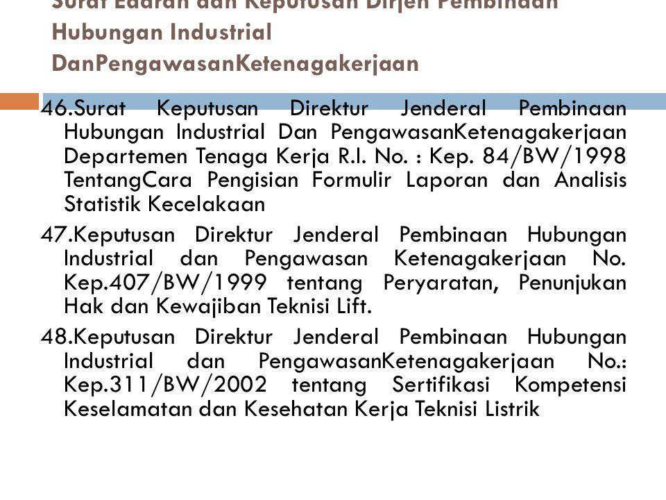 Surat Edaran dan Keputusan Dirjen Pembinaan Hubungan Industrial DanPengawasanKetenagakerjaan 46.Surat Keputusan Direktur Jenderal Pembinaan Hubungan Industrial Dan PengawasanKetenagakerjaan Departemen Tenaga Kerja R.I.