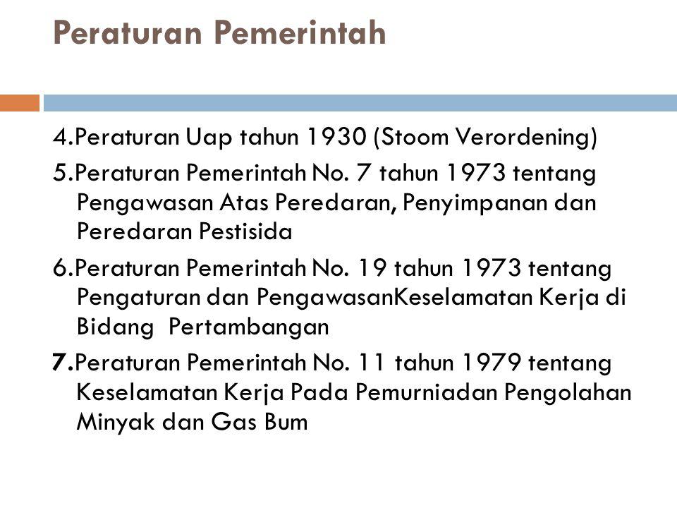 Peraturan Pemerintah 4.Peraturan Uap tahun 1930 (Stoom Verordening) 5.Peraturan Pemerintah No.