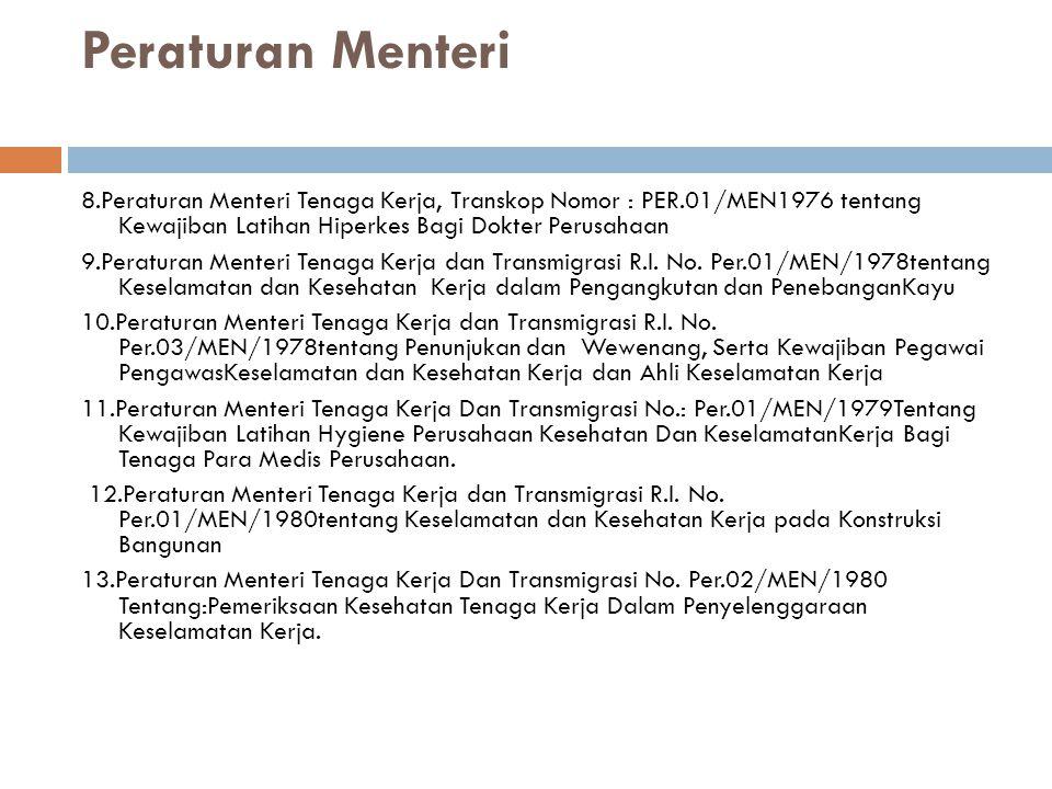 Peraturan Menteri 8.Peraturan Menteri Tenaga Kerja, Transkop Nomor : PER.01/MEN1976 tentang Kewajiban Latihan Hiperkes Bagi Dokter Perusahaan 9.Peraturan Menteri Tenaga Kerja dan Transmigrasi R.I.