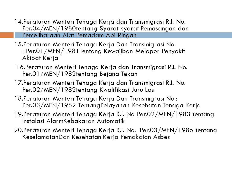 14.Peraturan Menteri Tenaga Kerja dan Transmigrasi R.I.