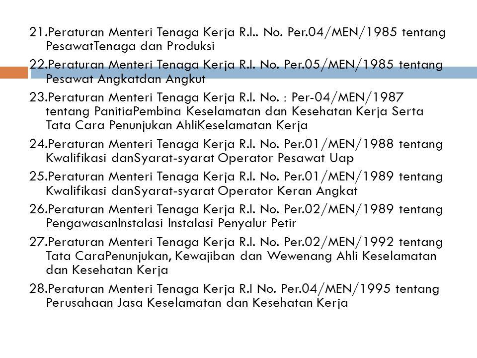 21.Peraturan Menteri Tenaga Kerja R.I..No.