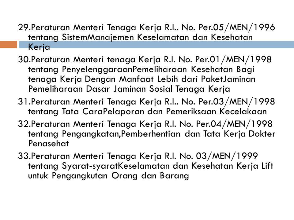 29.Peraturan Menteri Tenaga Kerja R.I..No.