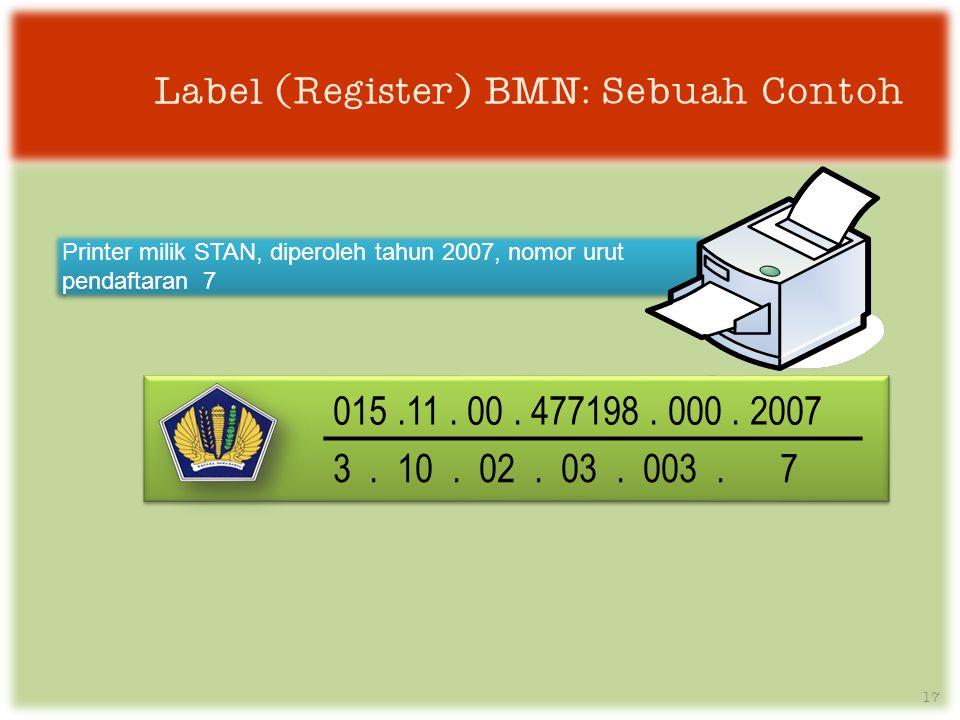 Label (Register) BMN: Sebuah Contoh 17 Printer milik STAN, diperoleh tahun 2007, nomor urut pendaftaran 7 015.11.