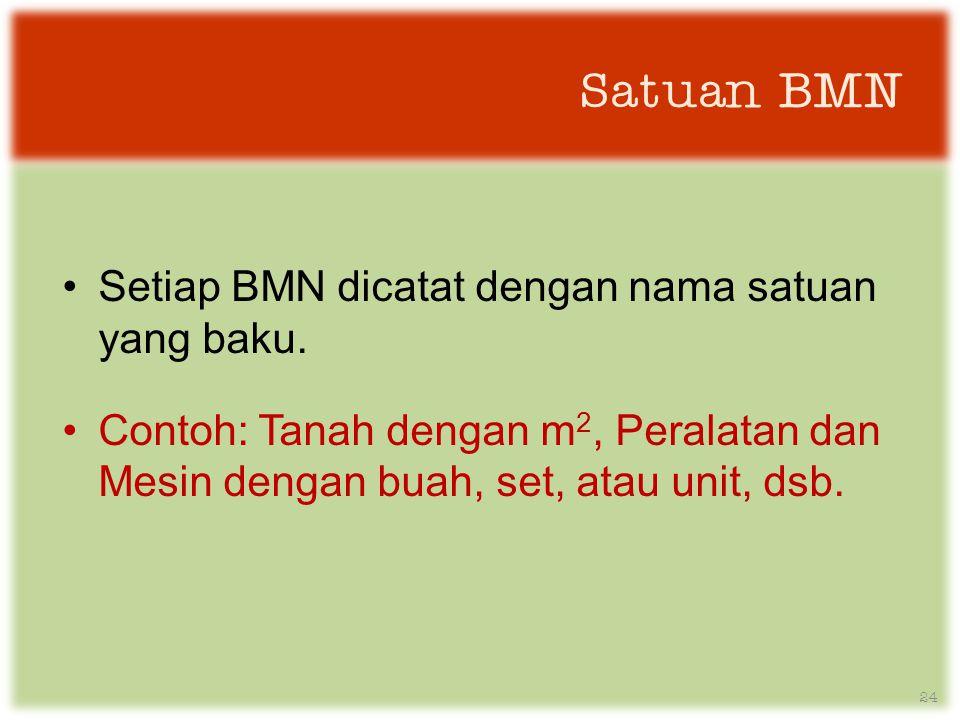 Satuan BMN •Setiap BMN dicatat dengan nama satuan yang baku.