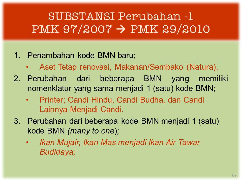 SUBSTANSI Perubahan -1 PMK 97/2007  PMK 29/2010 1.Penambahan kode BMN baru; •Aset Tetap renovasi, Makanan/Sembako (Natura).