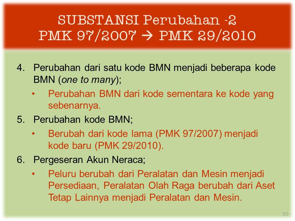 SUBSTANSI Perubahan -2 PMK 97/2007  PMK 29/2010 4.Perubahan dari satu kode BMN menjadi beberapa kode BMN (one to many); •Perubahan BMN dari kode sementara ke kode yang sebenarnya.
