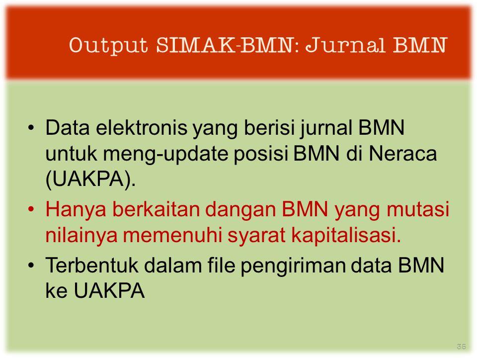 Output SIMAK-BMN: Jurnal BMN •Data elektronis yang berisi jurnal BMN untuk meng-update posisi BMN di Neraca (UAKPA).