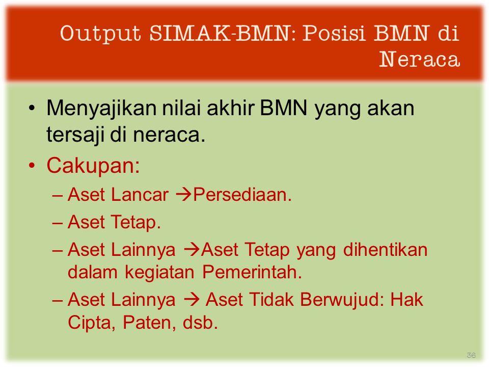Output SIMAK-BMN: Posisi BMN di Neraca •Menyajikan nilai akhir BMN yang akan tersaji di neraca.
