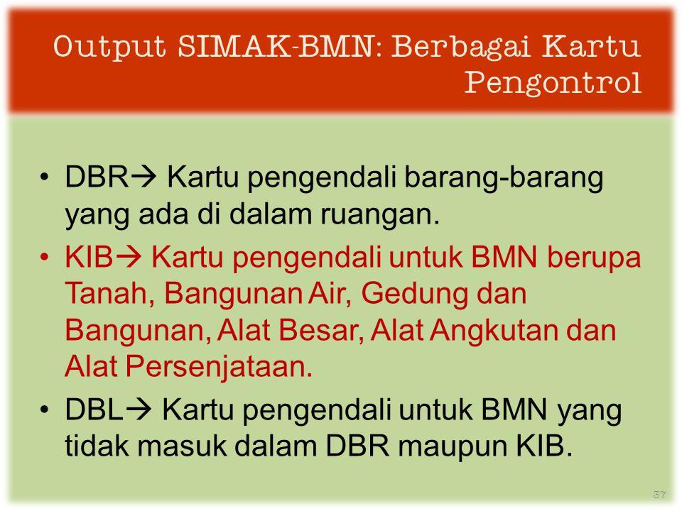 Output SIMAK-BMN: Berbagai Kartu Pengontrol •DBR  Kartu pengendali barang-barang yang ada di dalam ruangan.