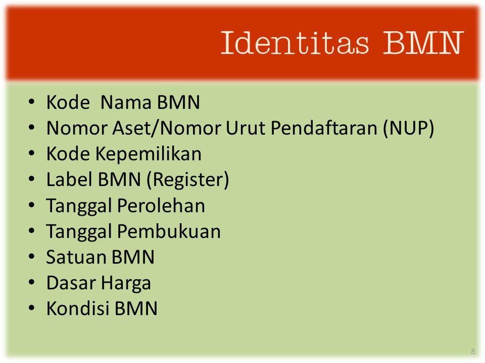 Identitas BMN • Kode Nama BMN • Nomor Aset/Nomor Urut Pendaftaran (NUP) • Kode Kepemilikan • Label BMN (Register) • Tanggal Perolehan • Tanggal Pembukuan • Satuan BMN • Dasar Harga • Kondisi BMN 8